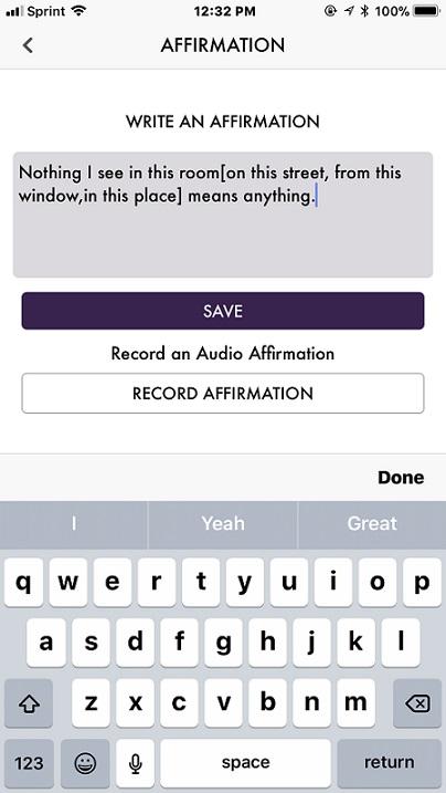 ACIM iOS Write Affirmations